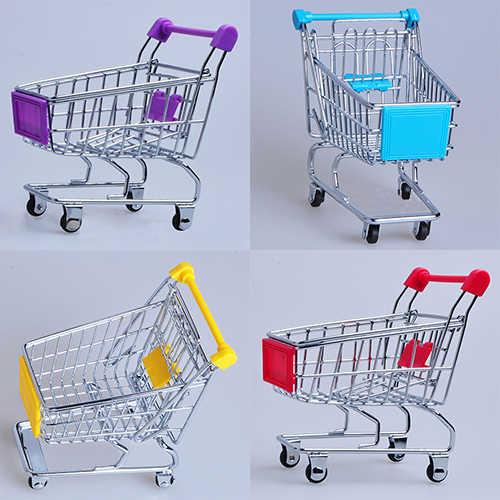 1 قطعة سوبر ماركت اليد عربة عربة التسوق الصغيرة سطح المكتب الديكور تخزين لعبة هدية عربة التسوق تخزين لعبة من الكارتون للأطفال