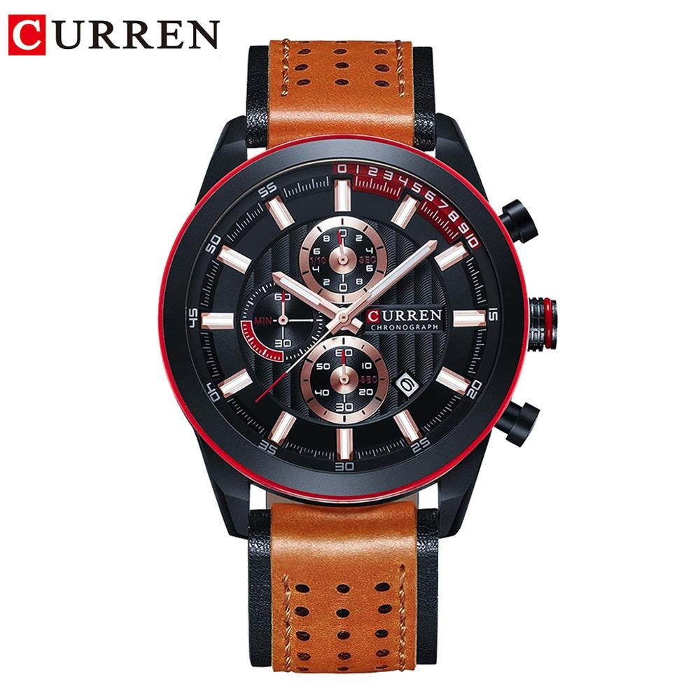 CURREN New Style Men Boy Sport Watches Fashion Military Calendar Waterproof Brown Leather Band Quartz Outdoor Wristwatches Clock in Quartz Watches from Watches