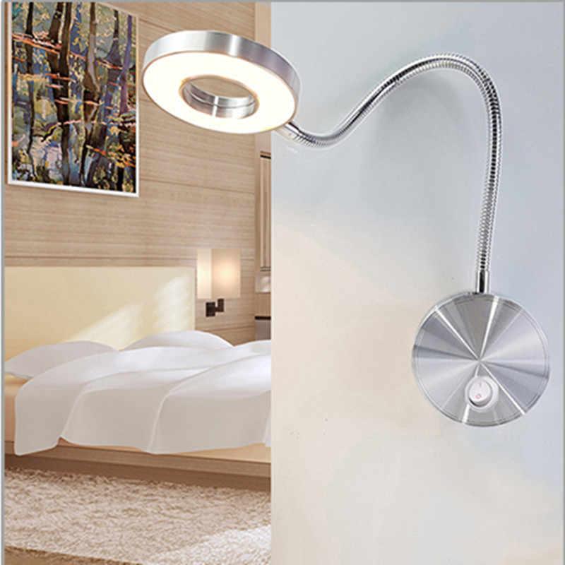 Deliu L/ámpara de Pared LED de 3W Luz de Lectura Nocturna Flexible montada en la Pared para Dormitorio Negro