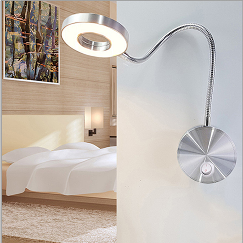LED Wall Lamp 5W  Hoses  Flexible Home Hotel Bedside Reading Lamp Book Lights Aluminum Light LED Bulbs Bedside Reading Lamp Wall