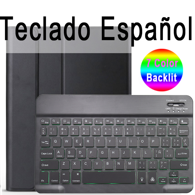 Spanish Keyboard Brown For iPad 10 2 2019 7 7th 8th Generation A2200 A2198 A2197 Case with Backlit Keyboard
