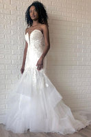 Mermaid Strapless Beading Applique Backless V-neck Wedding Dress Vestido de Noiva Wedding Dresses Bridal Gowns