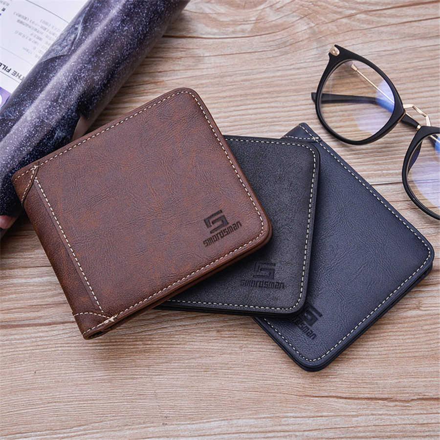 Carteira masculina de couro pequeno curto do vintage bolsa da moeda para homens carteiras fino portomonee heren
