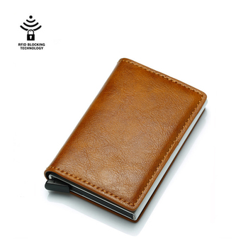 Credit Card Holder Men Or Women Metal RFID Blocking Vintage Aluminium Box Crazy Horse PU Leather Fashion Wallet For Male