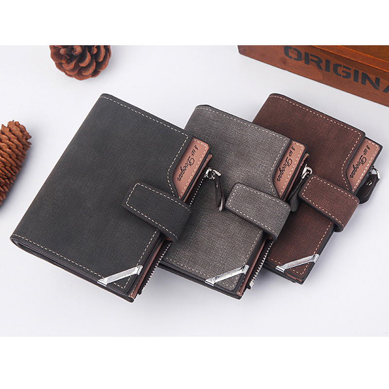 H247db855d9414f3cacb4fb15569a0c9eU - New Business men's wallet Short vertical Male Coin Purse casual multi-function card Holders bag zipper buckle triangle folding