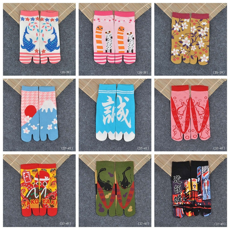 1 Pair Women Japanese Ninja Multicolor Split Toe Socks Men Sandal Middle Short Geta Blend Cotton Kimono Flip Flop Socks ZXY9856