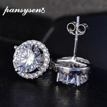 PANSYSEN Classico Femminile Creato Moissanite Diamante Orecchini Con Perno Per le donne Fashion Argento Sterling 925 Dei Monili di Cerimonia Nuziale Orecchino