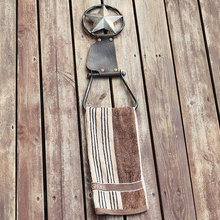 Cowboy Style Personalized Leather Iron art Craft Western Home Decoration Bathroom Metal Handker Kitchen Chief Towel Hanging