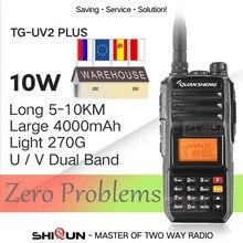 Walkie-talkie 10 km quansheng TG-UV2 mais 10w talkie de longa distância 10 km 4000mah rádio 10 km vhf uhf dupla banda analógica uv2plus