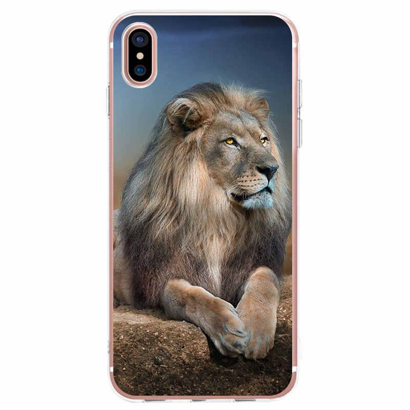 حافظة هاتف من السيليكون الناعم الشفاف لهاتف آيفون 11 برو X XR XS Max 7 8 6 6s Plus 5 5s SE غطاء حيوانات الأسد الملك