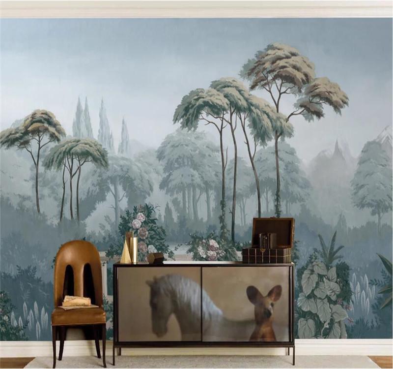 Professional Custom Wallpaper European Garden Hand Painted Medieval Tropical Jungle Background Wall