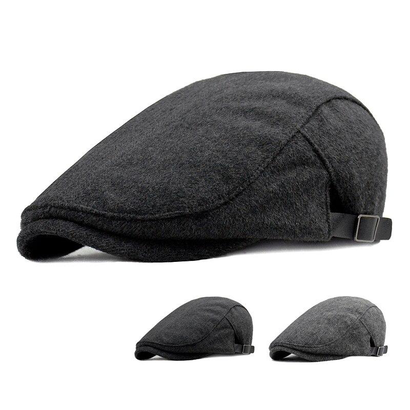Men's Newsboy Caps Autumn Winter Warm Thick Octagonal Hat For Male Detective Hats Retro Flat Caps Casual Beret