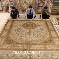 YILONG 9'x12' Hand made classical persian silk rug luxury home deco large white carpet (WY315A9x12)