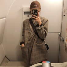 Vintage Plaid Ladies Blazer Brown Loose Casual Simple Suit Jacket Long Sleeve Abrigos Korean Spring Women Jacket New MM60NXZ