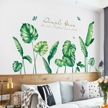 106*183cm Removable Banana leaf Wall Stickers for Living room Bedroom Self-adhesive Wall Decals Vinyl DIY Wall Murals Home Decor removable green leaf wall stickers for living room bedroom door self adhesive refrigerator diy wall decals vinyl art wall murals