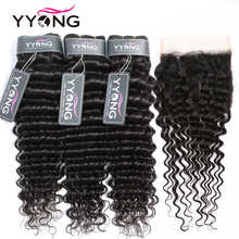 Yyong Hair 6x6 Closure With Bundles 3 Deep Wave Remy Brazilian Weave Bundle Lace