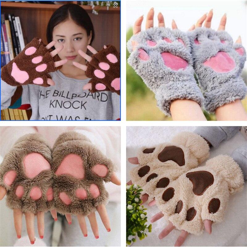 Fashion Girl Cat Claw Paw Fingerless Winter Warmer Half Finger Gloves Mitten
