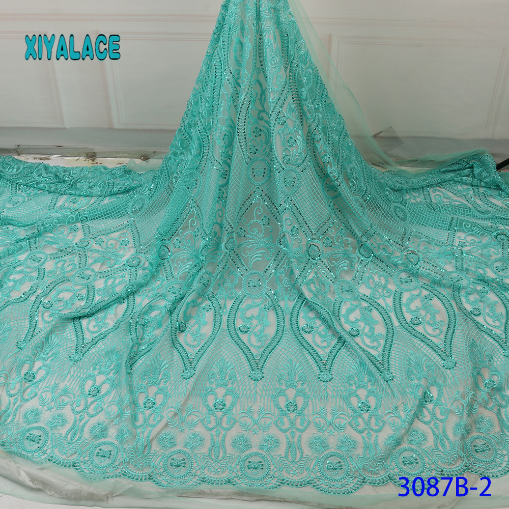 African Lace Fabric 2019 High Quality Stones With Embroidery Nigerian Lace Fabric For Women French Mesh Lace Fabric YA3087B-2