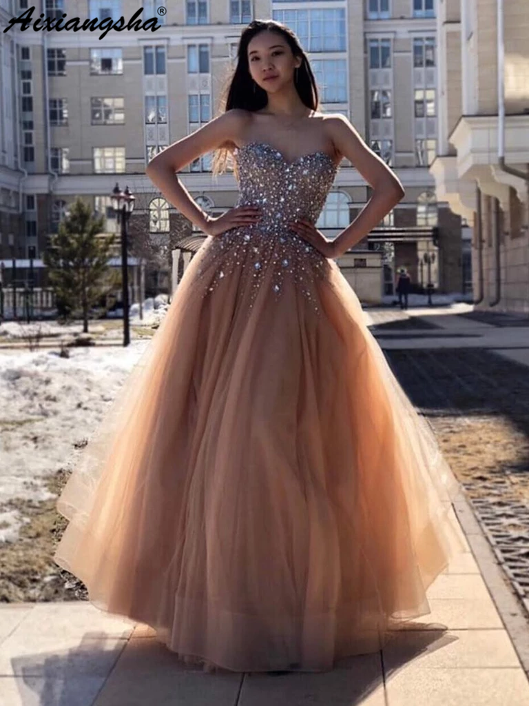 A Line Sweetheart Neck Beaded Bodice Tulle Skirt Champagne Long   Prom     Dresses   2019 Evening Party Gowns