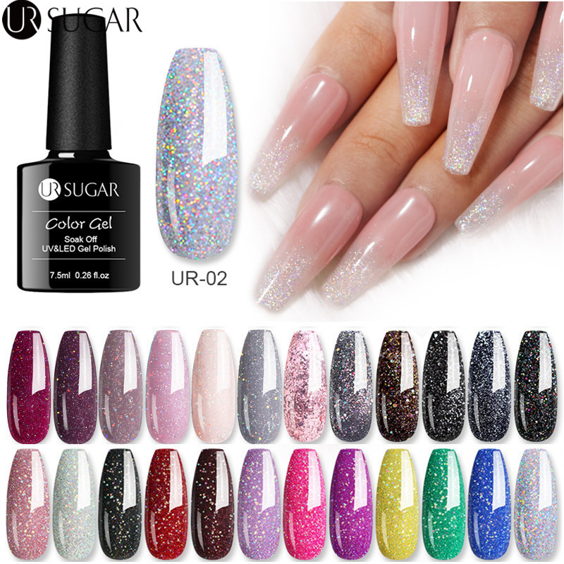 UR SUGAR 7.5ml  UV Gel Nail Polish Glitter Silver Laser Gel Nail Polish Platinum Gel Varnish Soak Off Semi Permanent