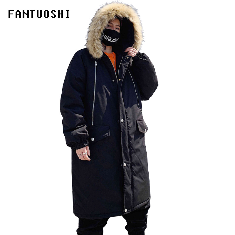 2019 Winter Men's Long Coat Fashion Thick Warm Slim Casual Hooded Jackets Long Sleeve Printed High Quality Cotton Jacket Black