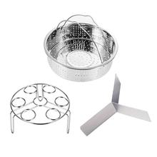 3 Pcs/Set Kitchen Tools Steamer Stainless Steel Basket Instant Pot Egg Rack Set Dining Accessories