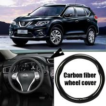 Car-styling 38cm black carbon fiber PVC leather car steering wheel cover for Nissan X-Trail new for nissan 200sx s14 s14a silvia carbon fiber sr20 sr20det oem engine coil plug cover car accessories car styling