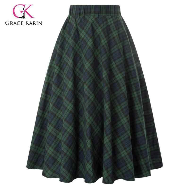 Grace Karin Женская винтажная юбка Классическая клетчатая хлопковая юбка трапециевидной формы модные женские элегантные удобные юбки