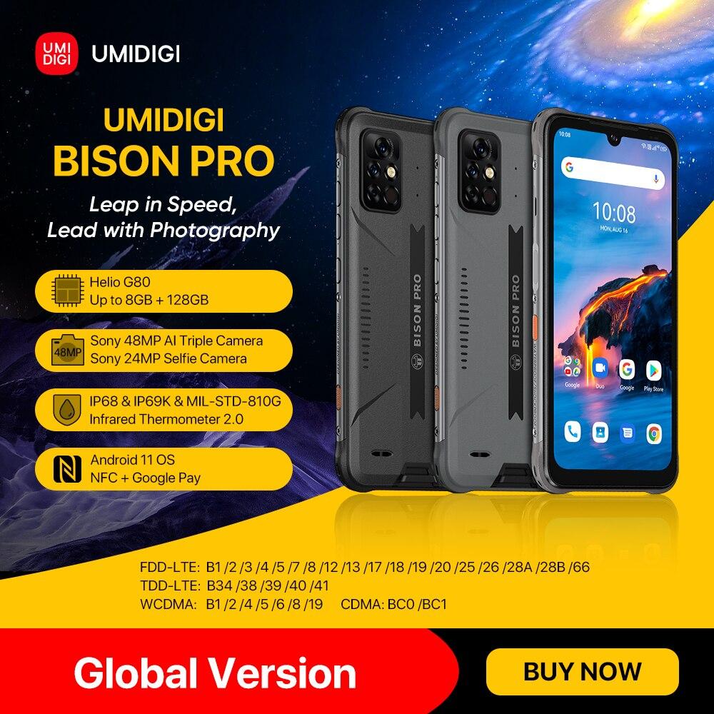 """[במלאי] UMIDIGI ביזון פרו הגלובלי גרסת Smartphone 128GB IP68/IP69K Helio G80 NFC 48MP לשלושה מצלמה 6.3 """"FHD + מסך 5000mAh"""