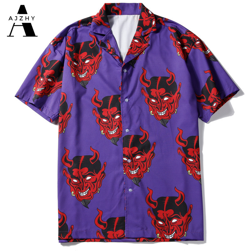 Hip Hop Streetwear Devil Full Printing Short Sleeve Shirt Men Casual Fashion Harujuku Hawaiian Shirt Summer Shirts Men Women 4XL