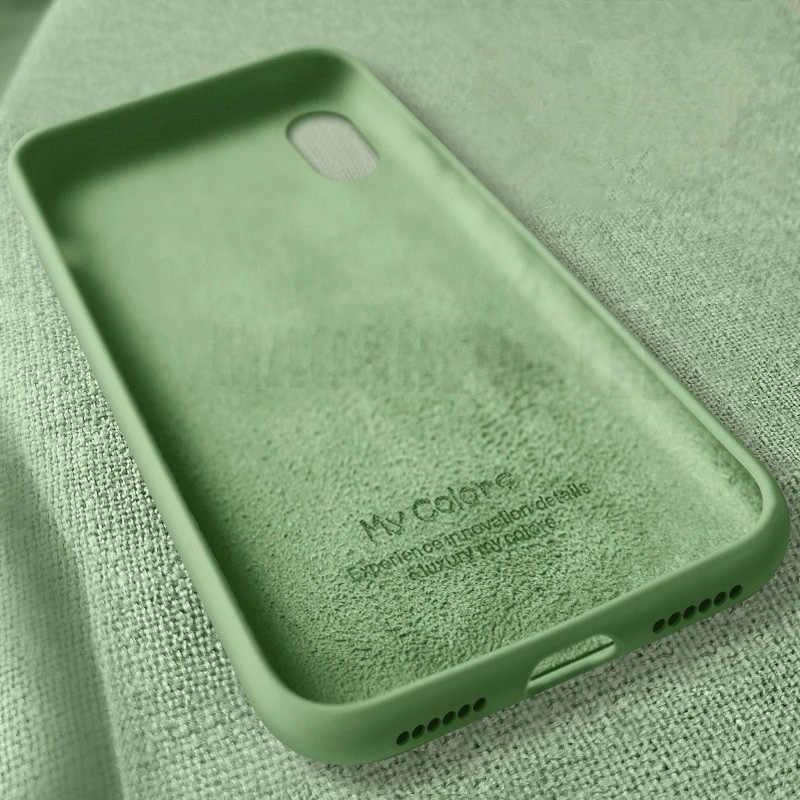 Sıvı silikon kılıf için iphone 11 Pro Max X XS Max XR şeker renk Ultra ince yumuşak kapak için iphone 7 8 6 6S artı kılıfları