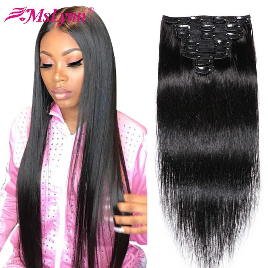 Brasilianische Haarwebart Bundles Gerade Haar Bundles Remy Haar Clip In Menschliches Haar Extensions 8 teile/los 120 Gramm Mslynn Haar