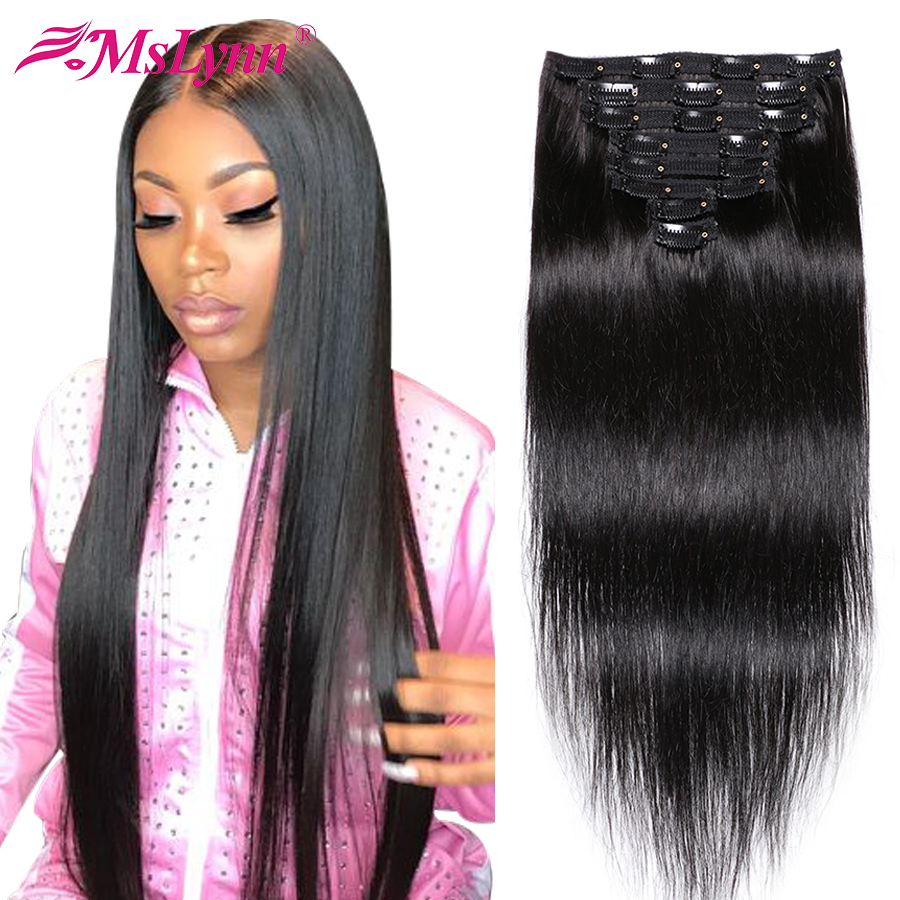 Hair Clips In Human Hair Extensions Brazilian Hair Weave Bundles Straight Hair Bundles Remy 8 Pieces/Set 120Gram Mslynn Hair