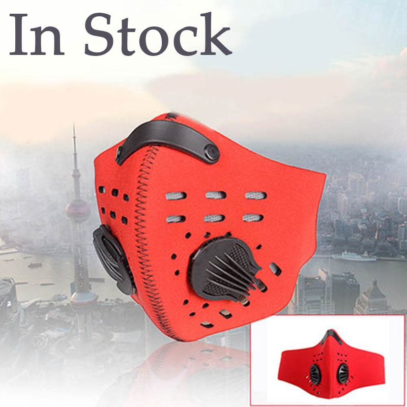 In Stock Activated Carbon Face Mask With 2 Breathing Valve Mouth Mask With Carbon Filter Anti PM2.5 Filter Bacteria Respirator