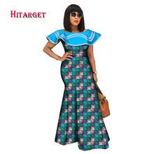 Bazin – robe longue à imprimé africain pour femmes, vêtement à col à volants, Dashiki, WY2550