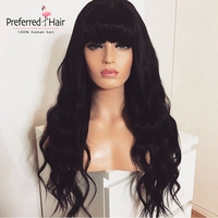 Preferred 13x6 Lace Front Wig Dark Blue Human Hair Wig With Bangs Long Wave Remy Brazilian Lace Front Wigs For Black Women