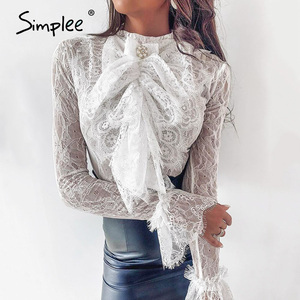 Image 2 - Simplee Streetwear bow tie women lace blouse shirt Stand neck ruffles pearl female white tops Spring summer ladies blouses 2020