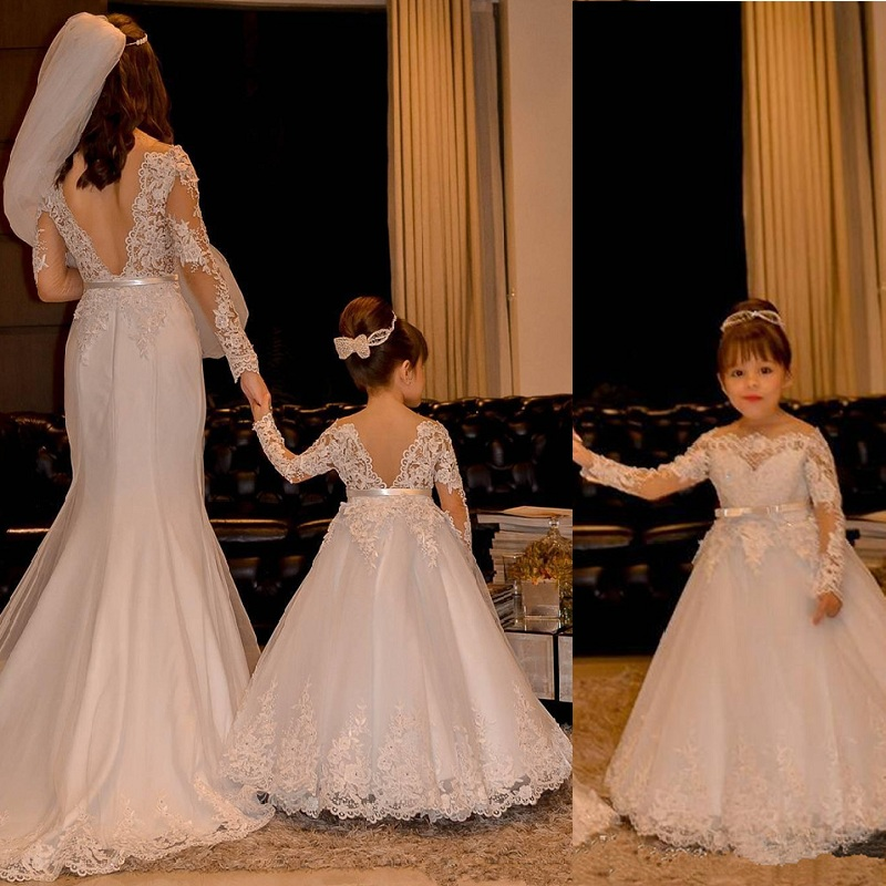 Flower Girl Dresses Lace Backless Tulle Girl Dresses For Wedding Vintage Little Girl Pageant Dresses Lace Princess Kids Gown