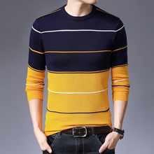 2019 autumn new mens fashion round neck casual bottoming shirt brand sweater pullover striped slim