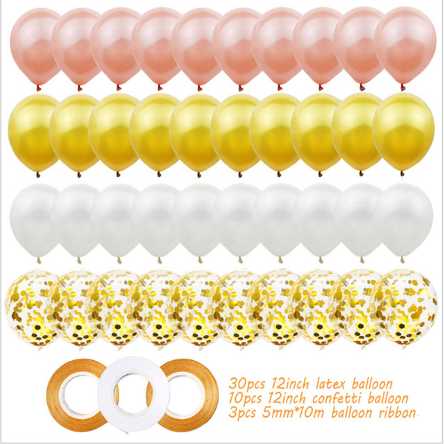 40pcs 12 Pollici Oro Rosa Palloncino In Lattice Set Festa Di Compleanno Decorazione di Cerimonia Nuziale Baby Shower Anniversario 5