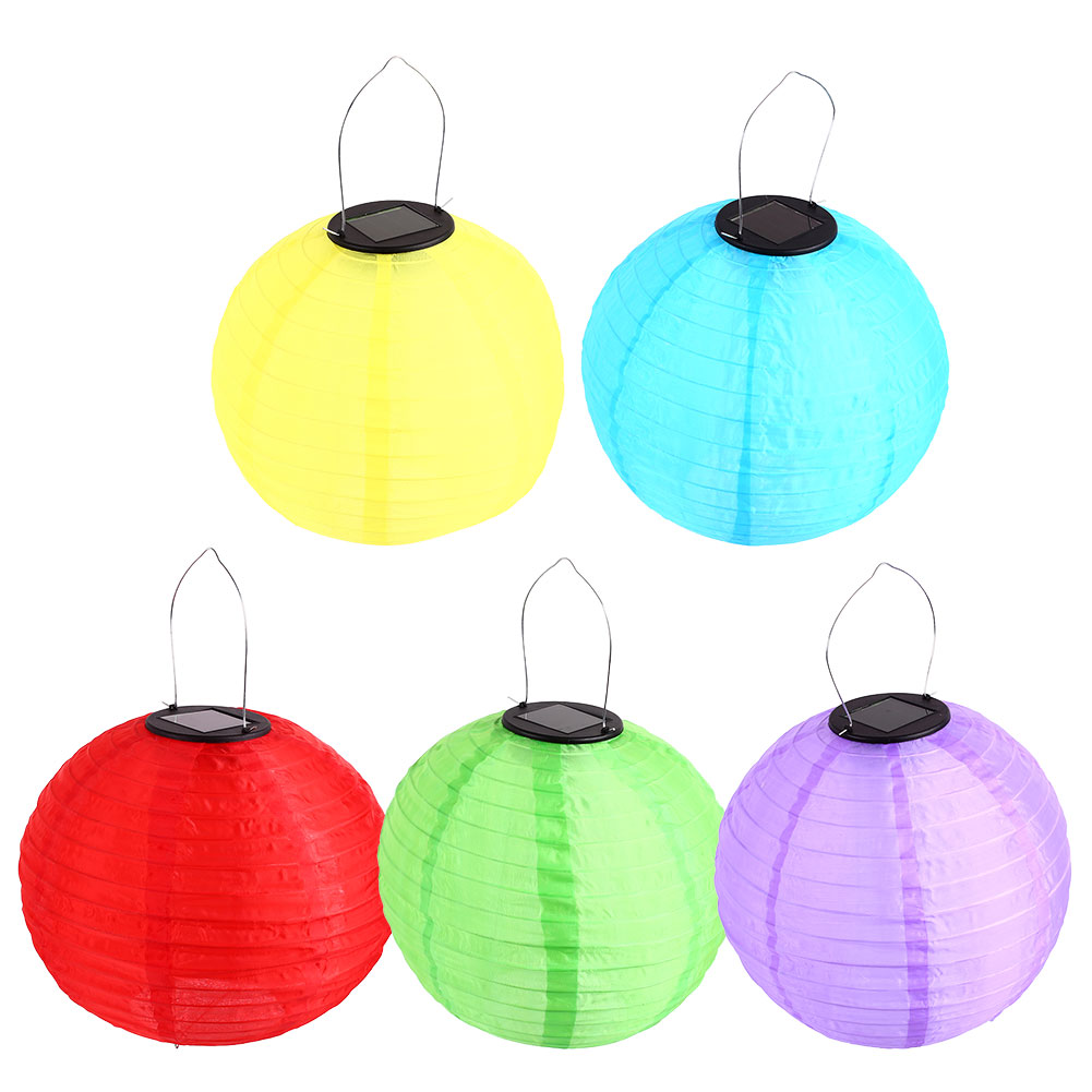 Light 10 Inches Household Chinese Lantern Solar Lamp 1.2v 600ma ABS Polysilicon Round Hanging Home Decor Outdoor Classic