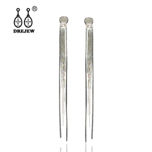 DREJEW Vintage Silver Long Tassel Rhinestone Crystal Statement Earrings Sets 925 Drop Earrings for Women Weddings Jewelry HE6221