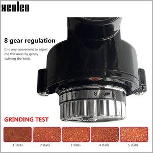 Image 4 - Xeoleo 전기 커피 그라인더 600N 커피 밀 기계 커피 콩 그라인더 기계 플랫 burrs 그라인딩 머신 220V 레드/블랙