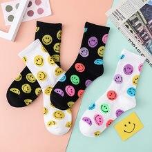 Smiley Socks Women Print Korean Style harajuku Kawaii Funny Happy Crew Socks Cute Smile Woman Socks calcetines skarpetki damskie