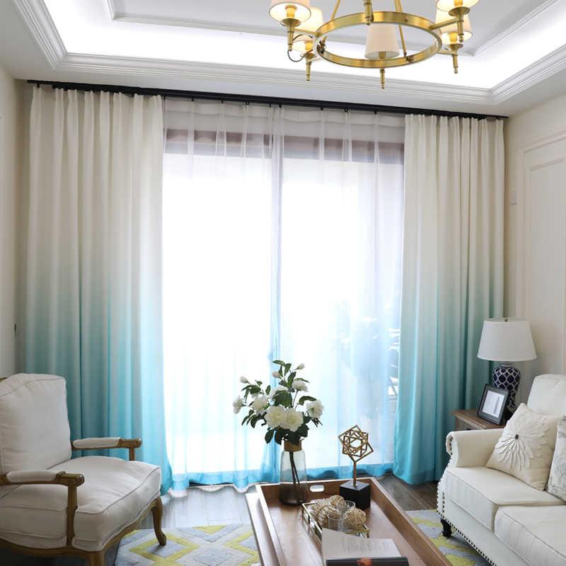 Màn Che Cửa Sổ Cho Phòng Khách Gradient Nhà Bếp Màu Sắc Voan Rèm Cửa Cho Phòng Ngủ Mất Điện Màn Cho Cửa Sổ Cao Che Bóng