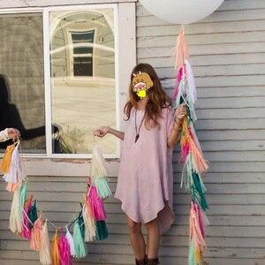 Image 5 - 5 pz/set pastello carta velina nappa ghirlanda arcobaleno unicorno Macaron pastello colore 1 ° compleanno festa Decor Baby Shower matrimonio