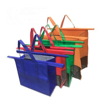 4 Pack Reusable Trolley Bags Shopping Cart Bags Trolley Bags Reusable Grocery Cart Bags for Hot or Cold Groceries 1