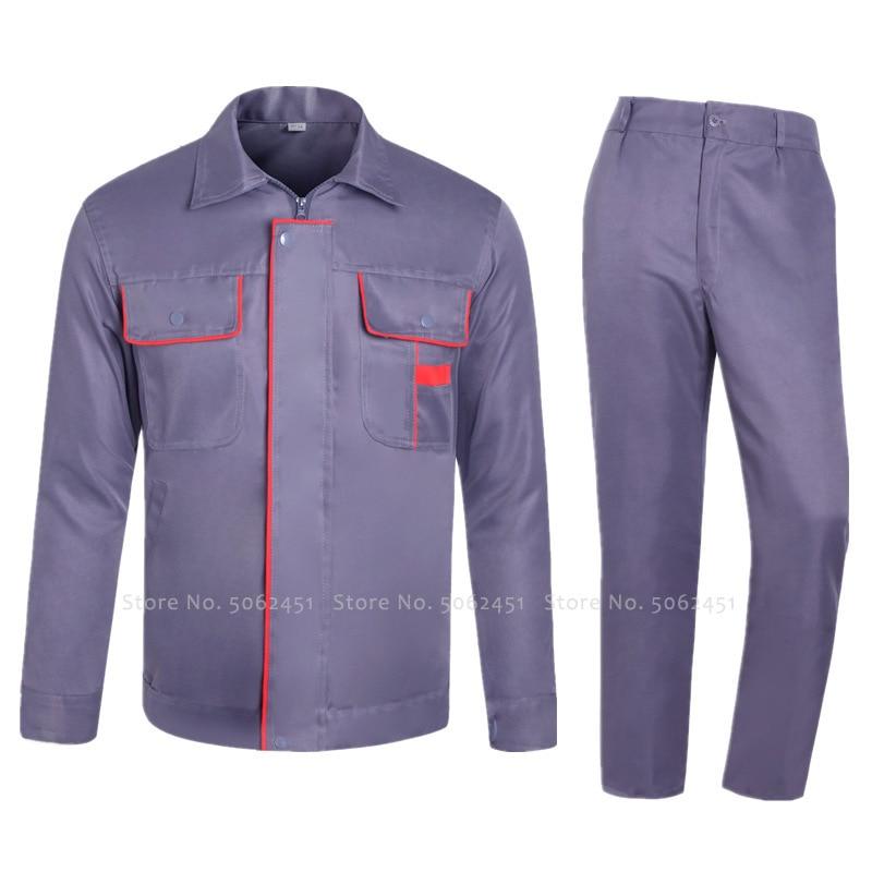 Mens Auto Repair Welding Factory Long Sleeve Coat Tops Pants Coveralls Women Construction Mechanical Work Wear Uniforms Suit Set