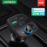 UGREEN Quick Charge 4,0 Auto Ladegerät für Telefon FM Transmitter Bluetooth Car Kit Audio MP3-Spieler Schnelle Dual USB Auto telefon Ladegerät