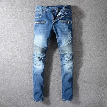 Fashion Streetwear Men Jeans High Quality Blue Color Destroyed Ripped Jeans Men Punk Style Cargo Pants Spliced Biker Jeans Homme